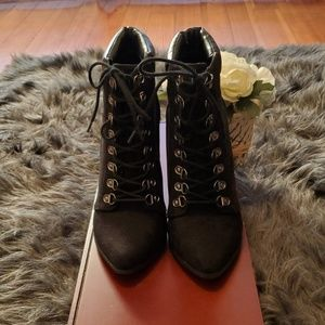 Forever21 Black Suede Laced Up Boots
